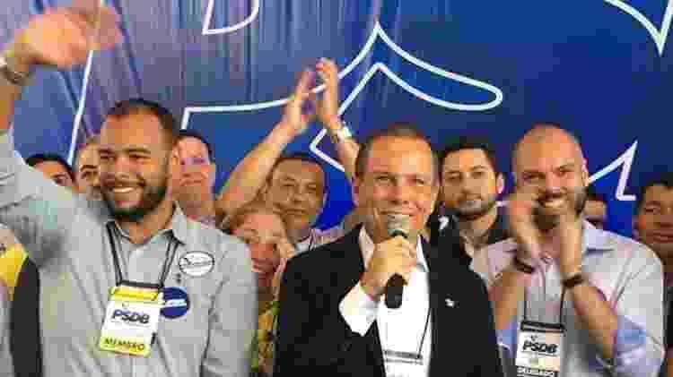 O presidente do PSDB paulistano, Fernando Alfredo (esq.), o governador paulista, João Doria (centro), e o prefeito paulistano, Bruno Covas (dir.) - Divulgação - 14.abr.2019/PSDB