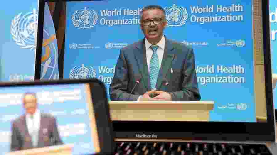 18.mai.2020 - Diretor-geral da OMS, Tedros Adhanom Ghebreyesus, durante coletiva virtual - China News Service via Getty Images