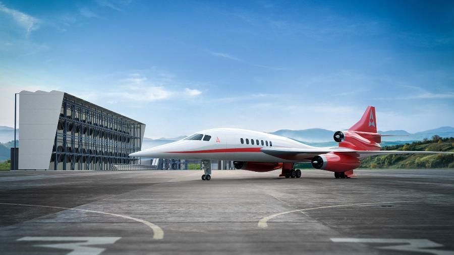 O AS2 é o avião comercial supersônico voará com o combustível sintético que promete reduzir a emissão de CO2 - Reprodução/Facebook/Aerion Supersonic