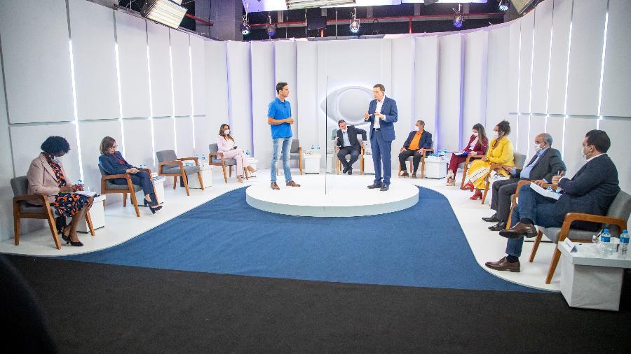 1º.out.2020 - Candidatos à Prefeitura do Rio participam de debate em estúdio da TV Bandeirantes - Paulo Belote/Band Rio