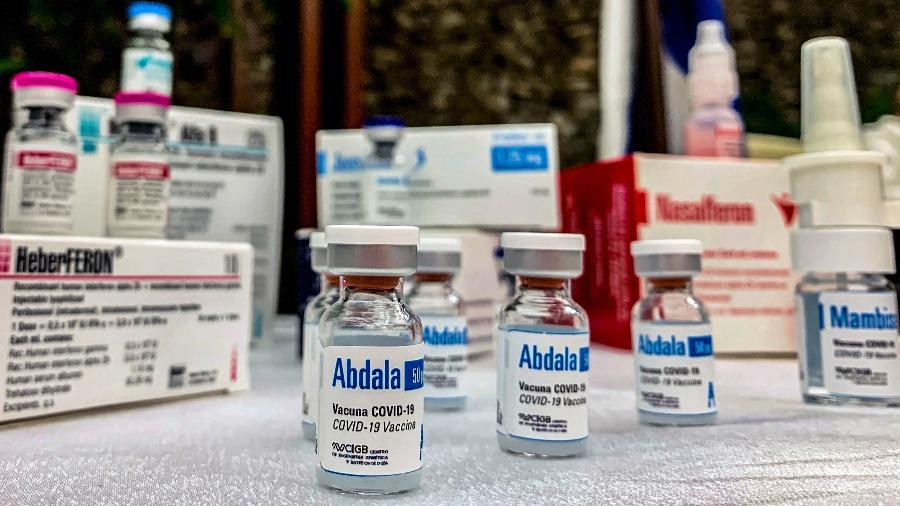19.mar.2021 - Vista de frascos da candidata à vacina cubana Abdala, em Havana - Katell Abiven/AFP