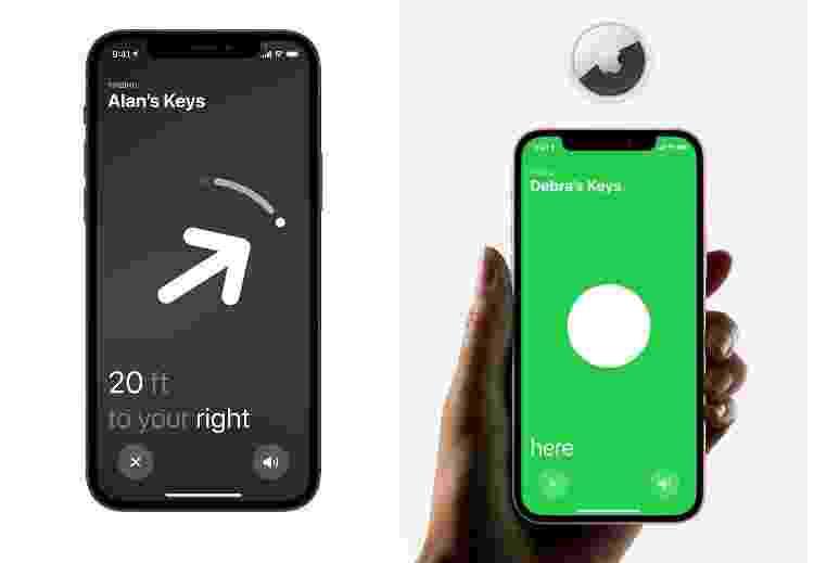 Telas mostram localização do AirTag - Divulgação/ Apple - Divulgação/ Apple