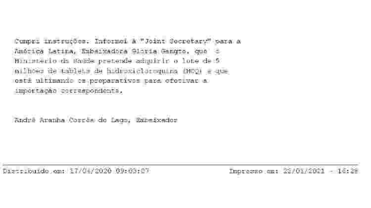 Telegrama CPI da Covid 1 - Reprodução - Reprodução