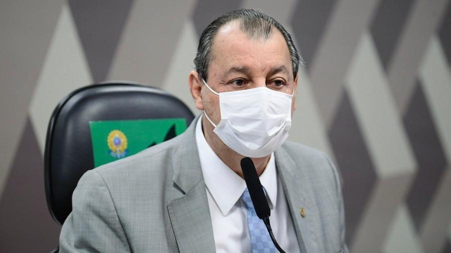 8.jul.2021 - O presidente da CPI da Covid, senador Omar Aziz (PSD-AM), durante sessão da comissão  - Pedro França/Agência Senado