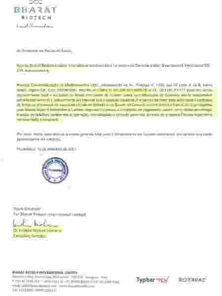 Documento enviado pela Precisa ao Ministério da Saúde, com assinatura do diretor da Bharat Biotech - Reprodução - Reprodução