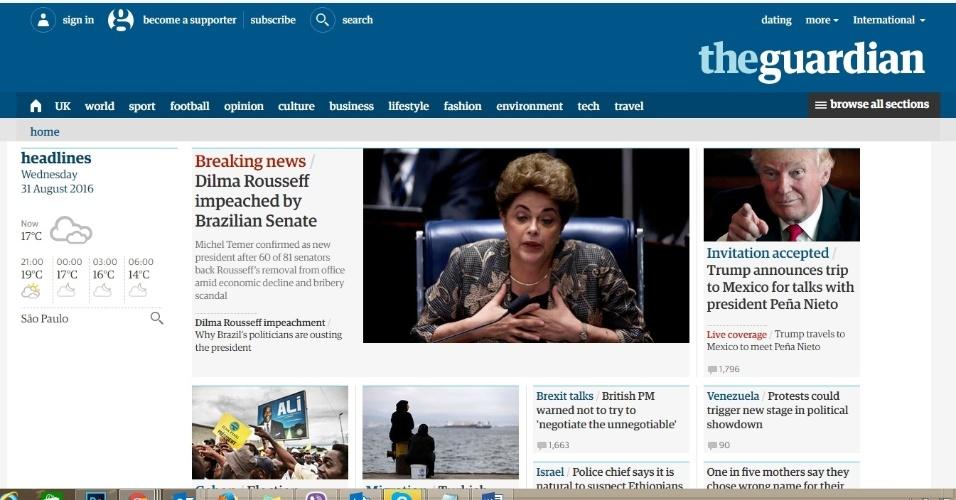 """31.ago.2016 - O jornal britânico """"The Guardian"""" destacou o impeachment de Dilma Rousseff e a confirmação de Michel Temer como novo presidente do Brasil"""