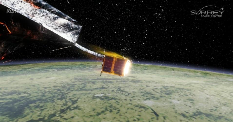 28.nov.2016 - A nave que será colocada em órbita no ano que vem testará maneiras de limpar o lixo espacial. Ela vai usar uma rede e um arpão para capturar esses destroços