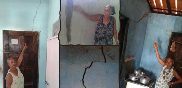Moradores mostram rachaduras que dizem ter sido causadas por obras em rodovia na Bahia