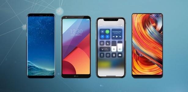 Da esquerda para a direita; Galaxy S8, LG G6, iPhone X e Xiaomi Mi Mix 2