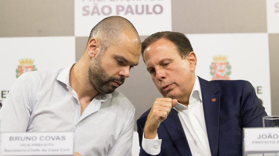 28.mar.2018 - João Doria (d) e Bruno Covas, ambos do PSDB, concedem entrevista na sede da Prefeitura - ANANDA MIGLIANO/O FOTOGRÁFICO/ESTADÃO CONTEÚDO