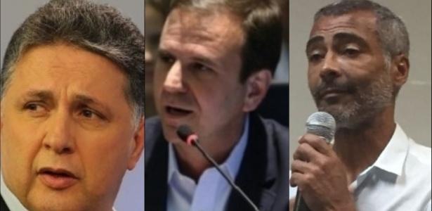 Garotinho (à esq.), Paes (centro) e Romário (à dir.) são candidatos ao governo fluminense