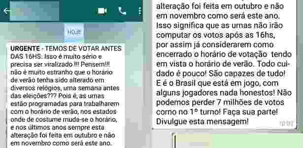 Mensagem falsa no WhatsApp pede para eleitores votarem até 16h - UOL