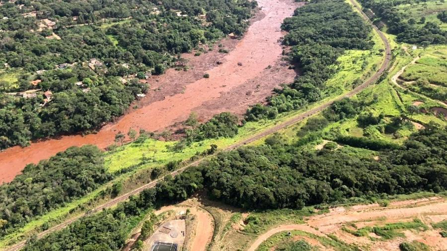 26.jan.2019 - Imagens aéreas mostram a devastação da região de Brumadinho (MG) após a queda de barragem da mineradora Vale - Corpo de Bombeiros de Minas Gerais