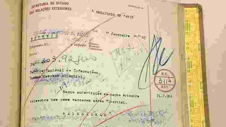 Documento do Itamaraty autorizando pagamento e emissão de passagem aérea para Albertini - Reprodução/ - Reprodução/