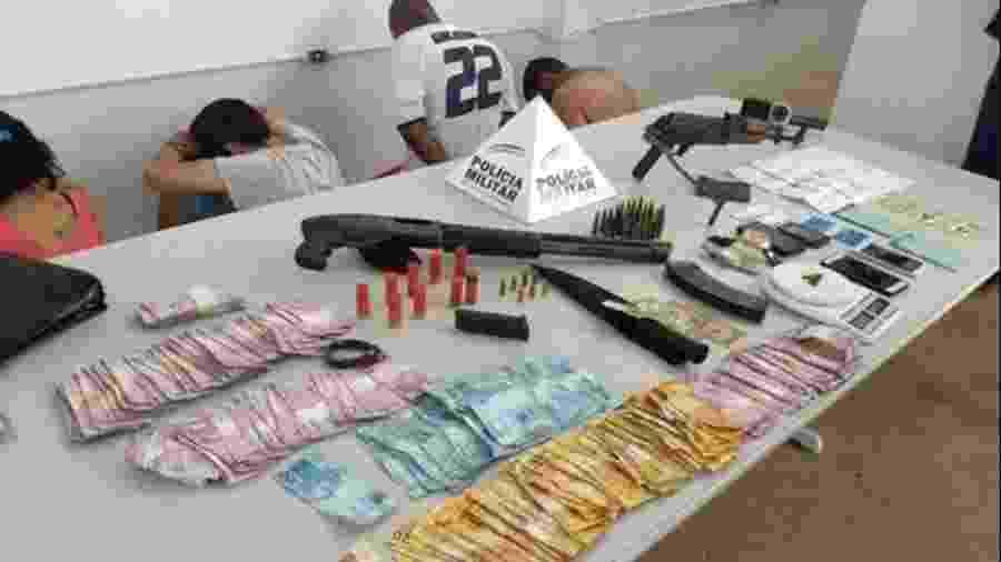 Integrantes de quadrilha presa e material apreendido em Minas na operação La Casa de Papel  - Divulgação / PM MG