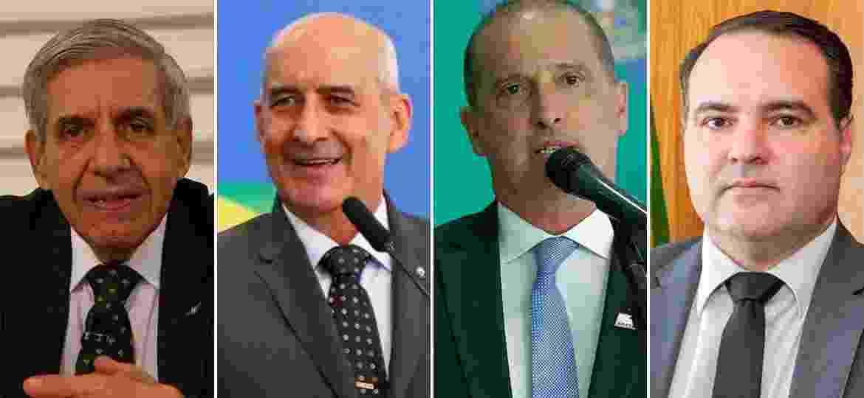 Os ministros do Planalto: Augusto Heleno (GSI), Luiz Eduardo Ramos (Secretaria de Governo), Onyx Lorenzoni (Casa Civil) e Jorge Oliveira (Secretaria-geral da Presidência) - Arte/UOL