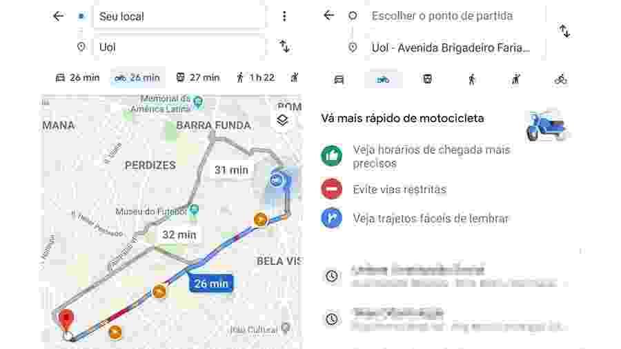 Google Maps para motos levará em conta áreas engarrafadas em que elas poderão rodar - Reprodução