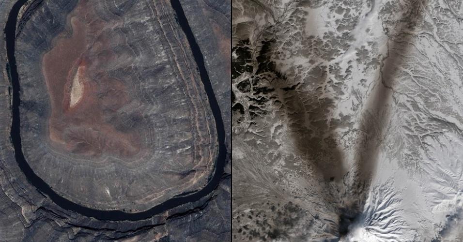 """6.jan.2015 - O satélite Ikonos capturou uma imagem que forma a letra """"U"""" no Parque Estadual Gooseneck, no Estado americano de Utah. Cinzas na neve em volta do vulcão Shiveluch, na península Kamchatka, na Rússia, lembra a letra """"V"""""""