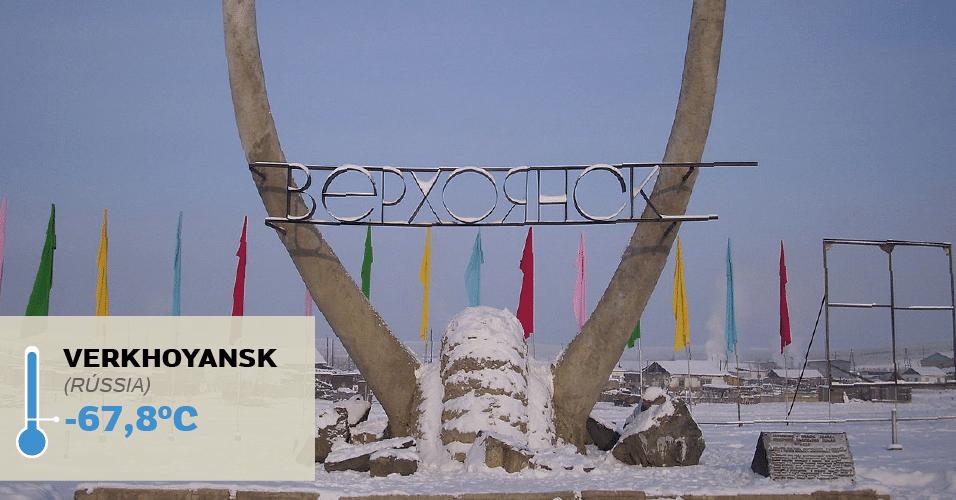 1º.jul.2016 - VERKHOYANSK, -67,8°C: É uma das menores cidades da Rússia e já foi local de exílio político no final do século 19 e início do século 20. Não é à toa: Verkhoyansk é bem fria, tão fria, que ostenta o recorde de temperatura mais baixa já registrada na Ásia (já que fica na porção asiática da Rússia). Os termômetros marcaram -67,8°C em 5 de fevereiro de 1882. Cinco décadas depois, a mesma temperatura foi registrada em Oymyakon, também na Rússia https://en.wikipedia.org/wiki/Verkhoyansk#/media/File:Werchojansk_Kältepoldenkmal_II.JPG