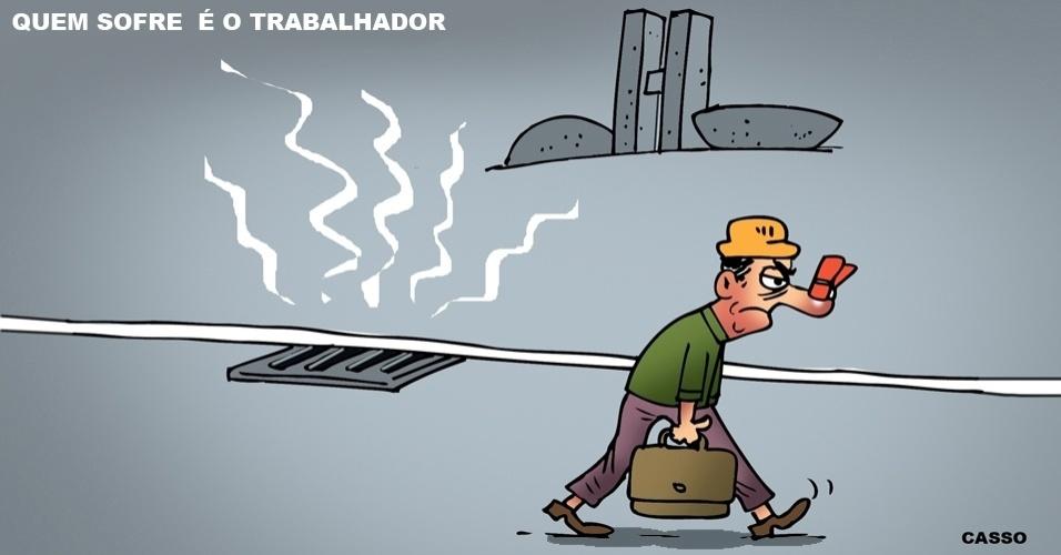 """5.jul.2016 - Para o trabalhador, as coisas não andam """"cheirando bem"""" em Brasília"""