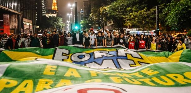 Manifestantes protestam em SP contra o impeachment de Dilma - Júnior Lago/UOL