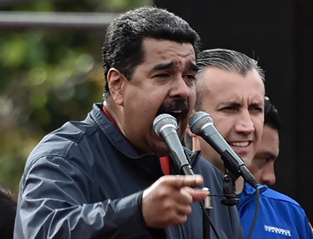 Nicolás Maduro durante pronunciamento em Caracas no 1º de Maio