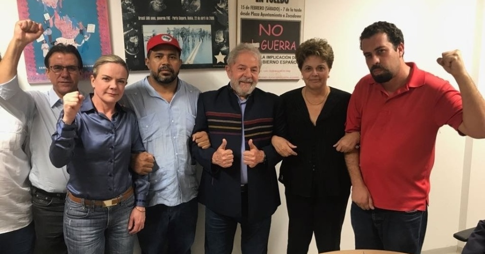 5.abr.2018 - Lula, Gleisi e Dilma no sindicato metalúrgicos do ABC