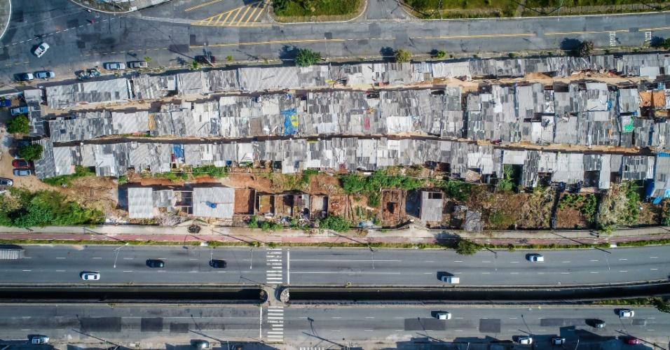 3.mai.2018 - Imagem aérea da ocupação Terra Prometida, no Jardim Imperador, na zona leste de São Paulo