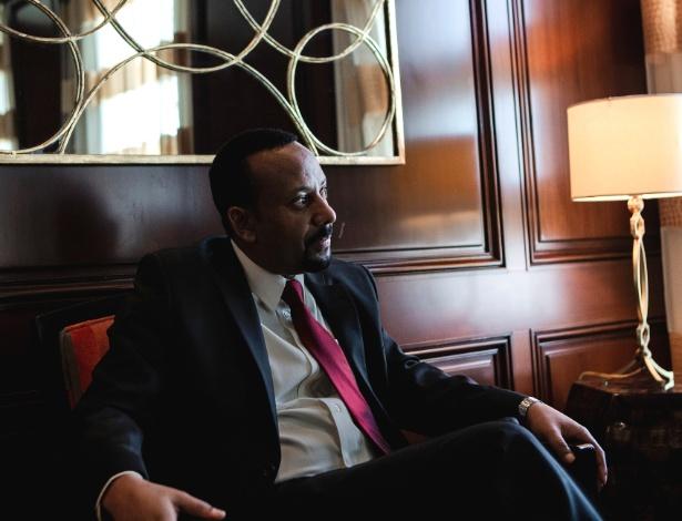29.jul.2018 - O primeiro-ministro da Etiópia, Abiy Ahmed, no hotel Beverly Wilshire em Los Angeles - Alex Welsh/The New York Times