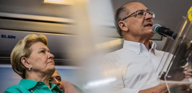 7.out.2018 - Geraldo Alckmin discursa ao lado de sua candidata a vice, Ana Amélia