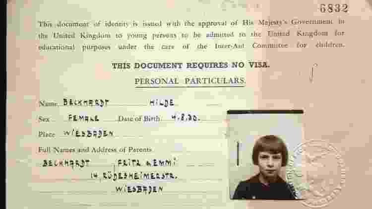 """Documento do """"Kindertransport"""" de Suse Beckhardt (ela não gostava de seu primeiro nome, Hilde) - Felix Couchman via BBC - Felix Couchman via BBC"""