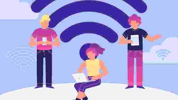 ilustração - pessoas usando conexão wi-fi - Freepik - Freepik