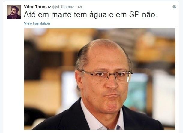 28.set.2015 - Internauta publica no Twitter piada juntando a descoberta de água em Marte e a crise hídrica no Estado de São Paulo, e imagem do governador Geraldo Alckmin