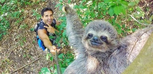"""""""Eiiii paee... tem #serumaninho na floresta que também gosta de fazer pose pra #selfie"""", postou o guia carioca"""