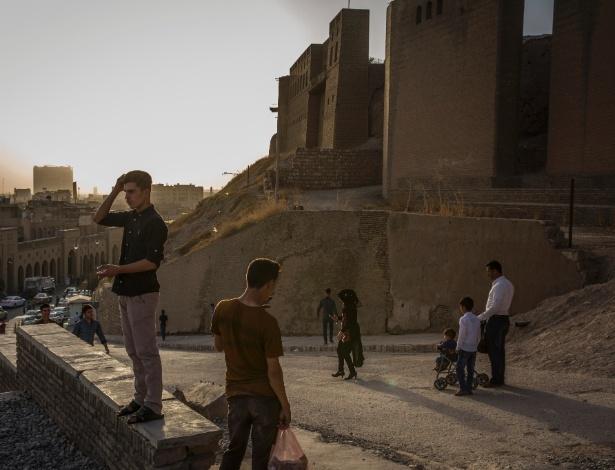 Visitantes na cidadela de Irbil, um Patrimônio Mundial da Unesco no Iraque
