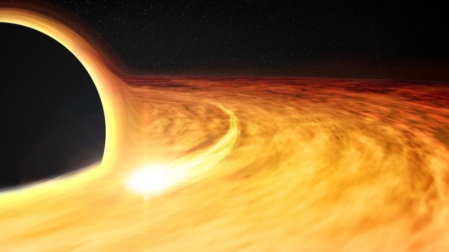 Ilustração artística de um buraco negro com um raio-x ao redor, que permite que sua taxa de rotação seja estimada  - Nasa/CXC/M. Weiss