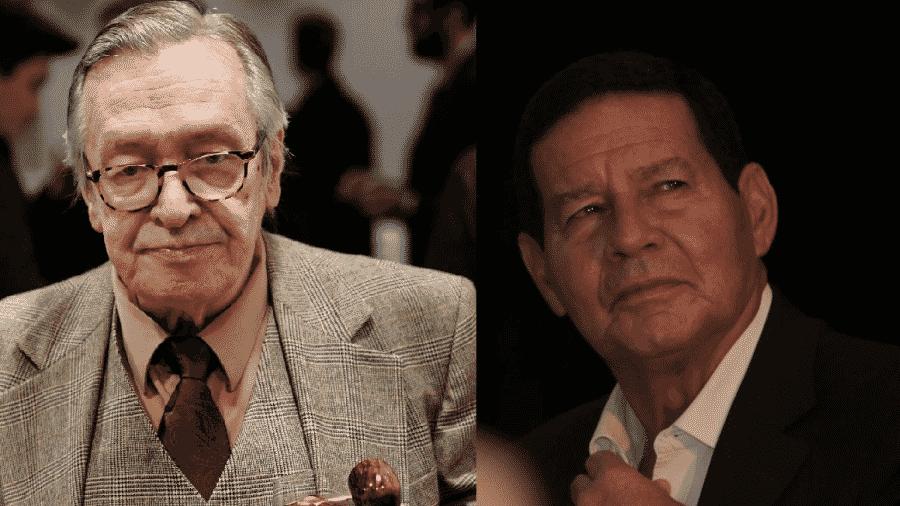O guro bolsonarista Olavo de Carvalho e o vice-presidente Hamilton Mourão - Reprodução