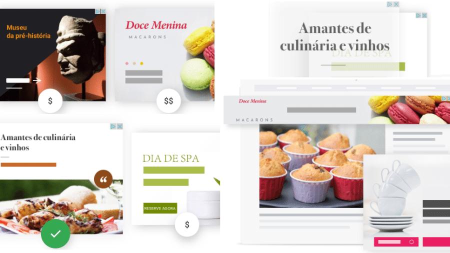 Exemplos de publicidade programática tirada do site Google AdSense - Reprodução