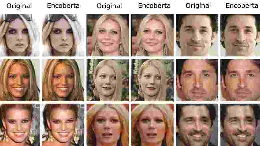 Equipe de Fawkes mostra imagens antes e depois das fotografias de Jessica Simpson, Gwyneth Paltrow e Patrick Dempsey encobertas pela ferramenta - SAND Lab, Universidade de Chicago