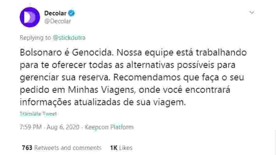 Resposta automática da Decolar no Twitter acabou fazendo crítica ao presidente Jair Bolsonaro - Reprodução