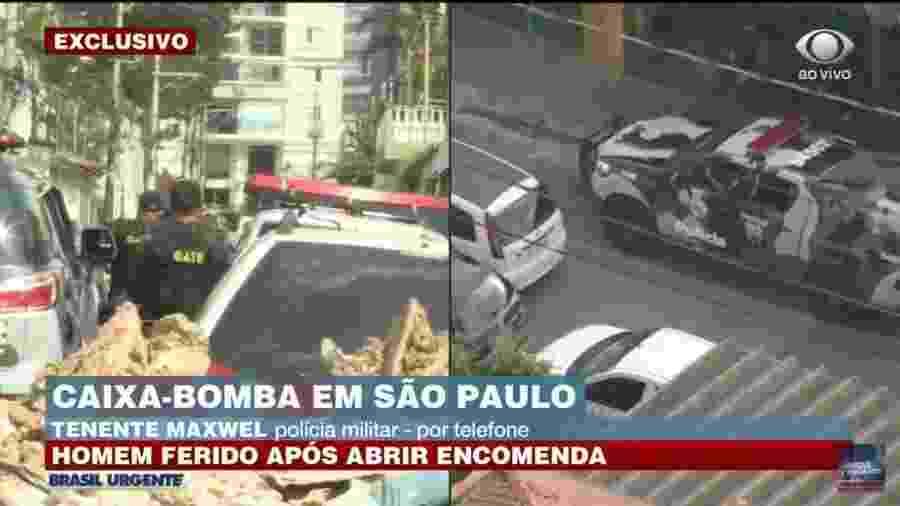 Homem fica ferido após abrir uma caixa com artefato explosivo, no Tatuapé, em São Paulo - Reprodução/Band
