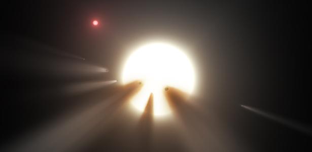 Ilustração mostra uma estrela atrás de um cometa fragmentado; observações sugerem que esse seja o motivo dos misteriosos padrões de luz da estrela KIC 8462852  - Nasa/JPL-Caltech