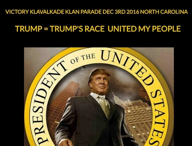 Convite para marcha da KKK em homenagem à vitória de Donald Trump