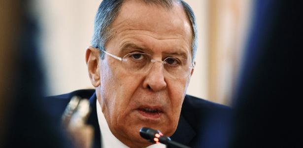 O ministro das Relações Exteriores, Sergei Lavrov, durante entrevista à imprensa em Moscou