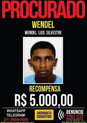 Disque-denúncia divulga foto de suspeito de matar delegado no Rio de Janeiro na sexta-feira (12): Wendel está foragido e a recompensa por sua captura é de R$ 5 mil