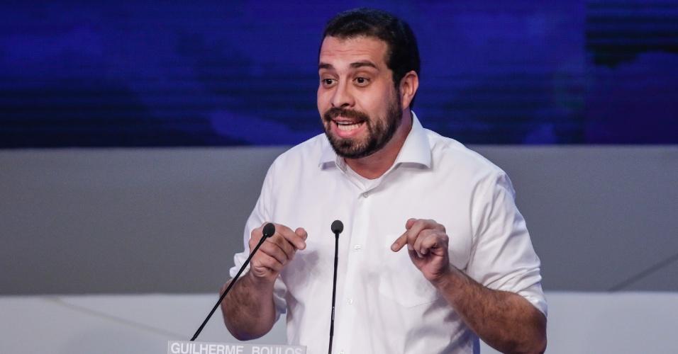 9.ago.2018 - Guilherme Boulos (PSOL) durante o debate Band 2018 com os candidatos a presidencia da republica, que acontece na TV Bandeirantes no bairro do Morumbi em São Paulo nesta quinta