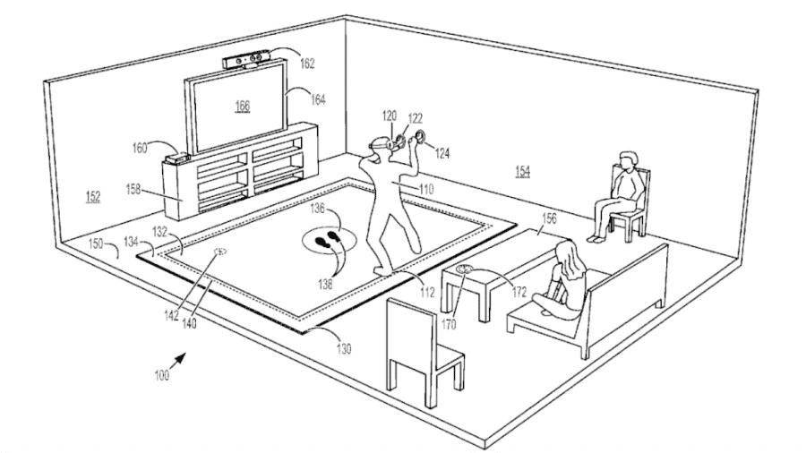 Documento da Microsoft simula usuário dentro de uma experiência de realidade virtual em cima do tapete - Divulgação/Microsoft