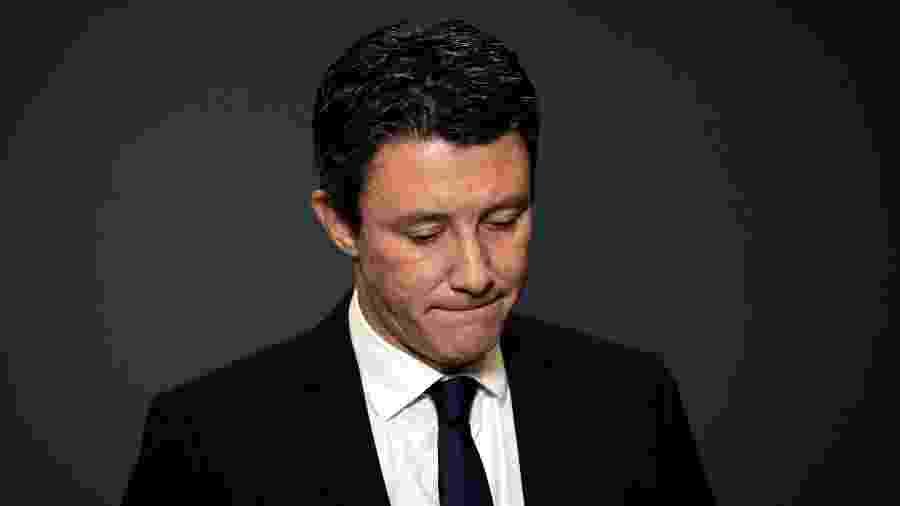 14.fev.2020 - Benjamin Griveaux anuncia sua saída da disputa pela prefeitura de Paris após o vazamento de um vídeo íntimo - Lionel Bonaventure/AFP