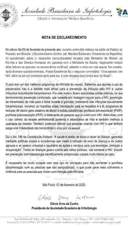"""Nota de esclarecimento sobre declaração de Jair Bolsonaro sobre a """"despesa"""" que um aidético dá a todo o Brasil - Reprodução"""