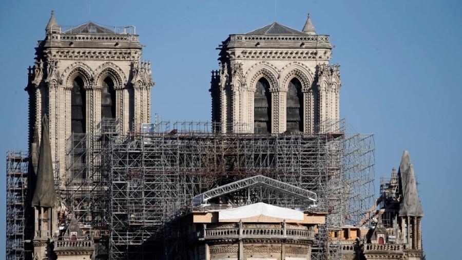 A promessa do presidente Macron é de reabrir Notre Dame em 2024 - Getty Images